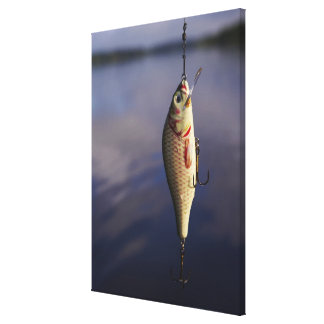 fishing lure in front of water canvas prints