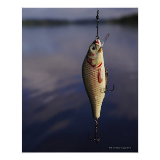 fishing lure in front of water print