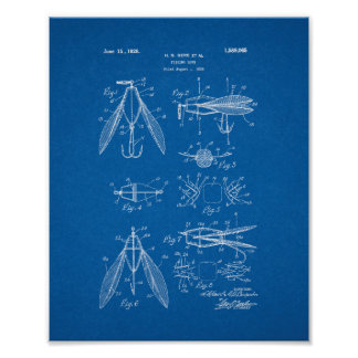 Fishing Lure Patent - Blueprint Print