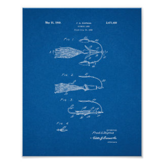 Fishing Lure Patent - Blueprint Poster