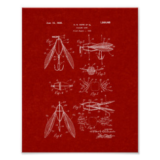 Fishing Lure Patent - Burgundy Red Poster