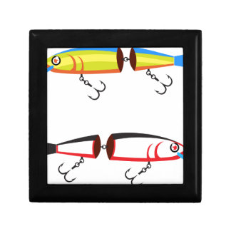 Fishing lure sections plastic tail vector gift box