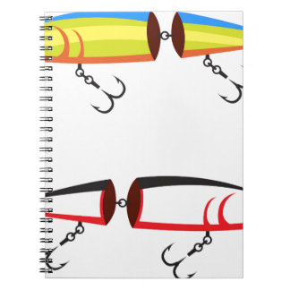 Fishing lure sections plastic tail vector notebook