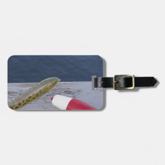 fishing lures at the lake red white blue... luggage tag