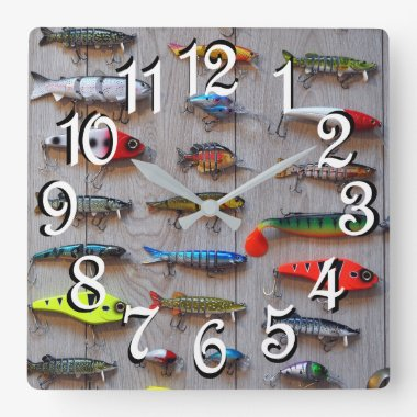 Fishing Lures Man Cave Wall Clock for Fishermen