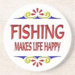 Fishing Makes Life Happy Drink Coaster
