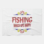 Fishing Makes Life Happy Kitchen Towels