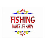 Fishing Makes Life Happy Postcard
