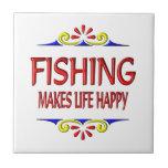 Fishing Makes Life Happy Tiles