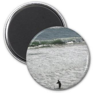 Fishing Man in the Montauk Ocean 2 Inch Round Magnet
