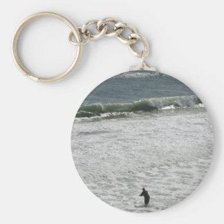 Fishing Man in the Montauk Ocean Key Chains