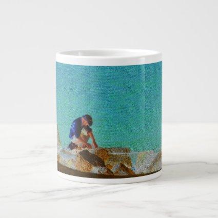 fishing man quilted blue jumbo mug