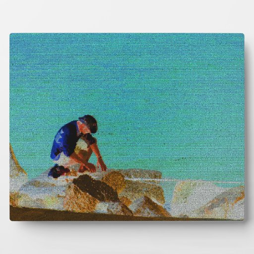fishing man quilted blue photo plaques