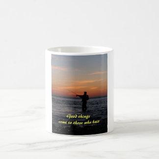 fishing man sunset Good things come to those w Coffee Mug