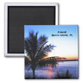 Fishing Marco Island, Fl. 2 Inch Square Magnet