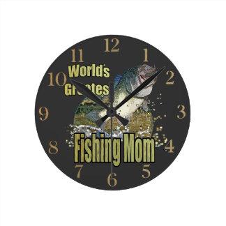 Fishing Mom Round Wall Clocks