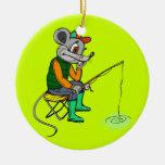 Fishing Mouse Christmas Ornaments