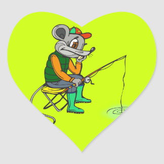 Fishing Mouse Heart Sticker