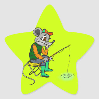Fishing Mouse Star Sticker