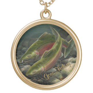 Fishing Necklace Coho Salmon Custom Art Gifts