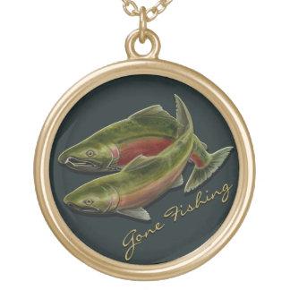 Fishing Necklace Coho Salmon Custom Art Gifts