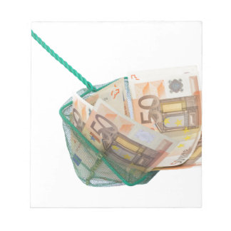 Fishing net filled with euro notes