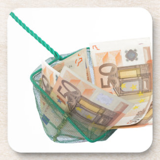 Fishing net filled with euro notes beverage coaster