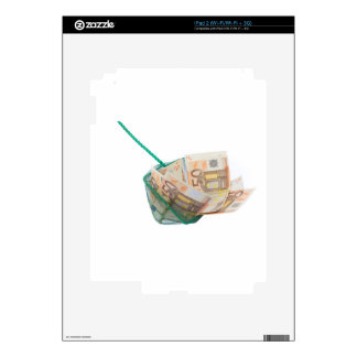 Fishing net filled with euro notes decal for iPad 2
