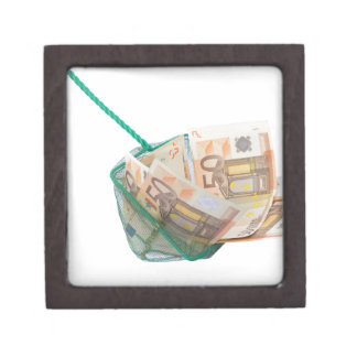 Fishing net filled with euro notes gift box