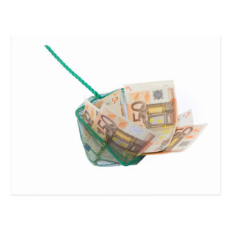 Fishing net filled with euro notes postcard
