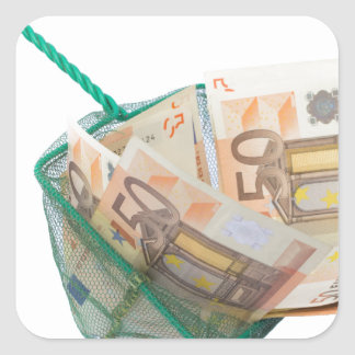 Fishing net filled with euro notes square sticker
