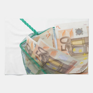 Fishing net filled with euro notes towel