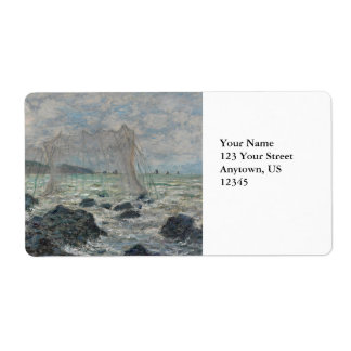 Fishing Nets at Pourville by Claude Monet Personalized Shipping Labels