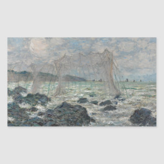 Fishing Nets at Pourville by Claude Monet Rectangle Stickers