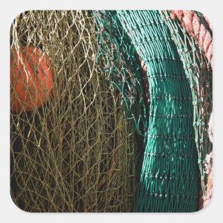 Fishing nets square sticker
