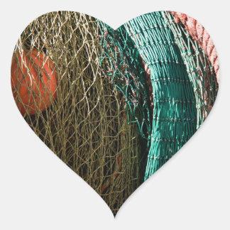 Fishing nets heart sticker