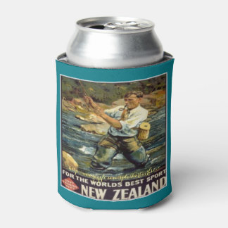 """""""Fishing New Zealand-Vintage"""" Can Cooler"""