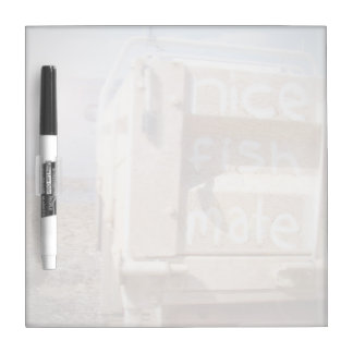 Fishing nice fish mate blue beige beach ute Dry-Erase board