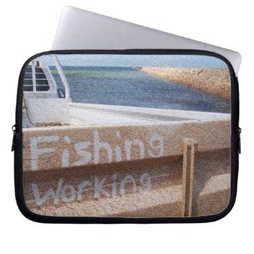 Beach Themed Fishing NOT Working beach sky jetty pier ute Computer Sleeve