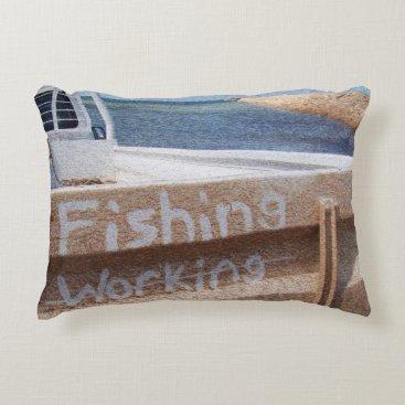 Beach Themed Fishing NOT Working beach sky jetty pier ute Decorative Pillow