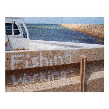 Beach Themed Fishing NOT Working beach sky jetty pier ute Postcard