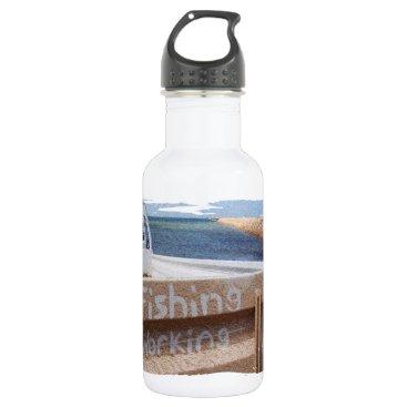 Beach Themed Fishing NOT Working beach sky jetty pier ute Water Bottle
