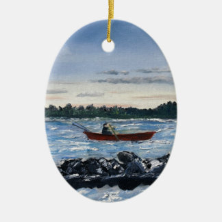 fishing oil painting ceramic ornament