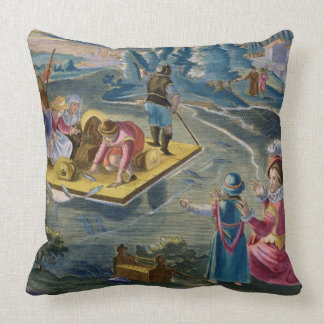 Fishing on a Lake at Night, plate 101 from 'Venati Throw Pillow