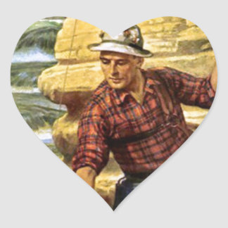 Fishing on the bank of the river heart sticker
