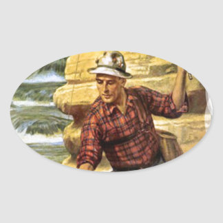Fishing on the bank of the river oval sticker