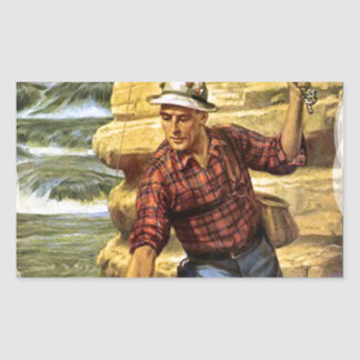 Fishing on the bank of the river rectangular sticker