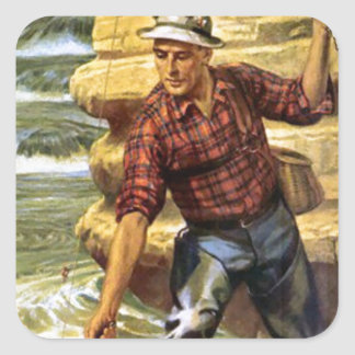 Fishing on the bank of the river square sticker
