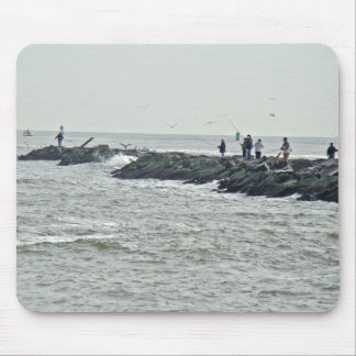 Fishing on the Jetty Barnegat Inlet Items Mouse Pad