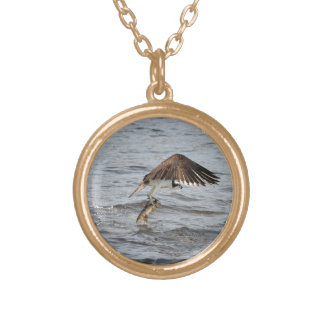 Fishing Osprey & Catch 3 Wildlife Photo Gold Plated Necklace